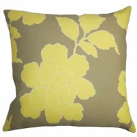 Update your decor style in time for summer with a fresh look. This accent pillow features an oversized floral pattern in shades of yellow against a brown background. This square pillow will instantly brighten up your outdoor space with the striking contrast between the two hues. Lend a contemporary twist to your patio, cabana or garden with this pillow.