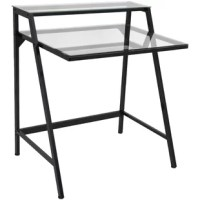 Ideal for studio lofts and smaller home offices alike, this writing desk gives you workspace without taking up too much space. Featuring two angled legs for a hint of mid-century style in its foundation, this piece's frame is constructed from metal with a neutral solid finish. Tempered glass surfaces lend an elegant look to the piece, perfect for classic and contemporary aesthetics. Measures just 35.5'' H x 31'' W x 23.5'' D.