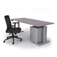 "This desk is the perfect height-adjustable solution for the demands of today's workforce. With a height range from 24"" to 49.7"", a lifting capacity of 350 lbs, and a quiet-as-a-mouse decibel level of 32, this is an ergonomic dream. Complete your functional office esthetic with the adjustable lumbar support of our office chair and maintain a zen-like state with our new sleek silver mobile pedestal."