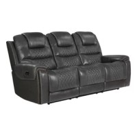 Complete a luxurious family room update with this power leather sofa from the Nezperce collection. Rich top-grain leather appeals to your discerning taste in your choice of colors to complement your decor. Dual reclining seats offer custom adjustment, including headrest support, at the touch of a button. Plush Crisper foam cushioning topped with a layer of cooling gel memory foam maintains an unprecedented level of comfort. Built-in USB ports allow handy charging of those electronic devices we...
