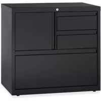 3-Drawer Lateral Filing Cabinet offers versatile storage options with a personal storage compartment, two box drawers, and a file drawer. File drawer includes hanging file rails for side-to-side filing in letter-size, legal-size or A4-size. The storage compartment includes a grommet for cable management. All three drawers and compartment lock with a core-removable lock with dual locking bars. Drawers also feature full-width pulls and ball-bearing slide suspension. Use the included magnetic...