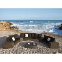 Unwind on the Big Sur Collection by Panama Jack with its unique design, thick dark weave, and comfy cushions. The Panama Jack Big Sur 9 pc sectional set includes 4 loveseats, 4 arms, and 1 coffee table with glass that are all durable and long-standing.  A great addition to your outdoor living space for the entertaining season after season. Guests will feel comfortable and enjoy hanging out on this sectional as it is sufficient and adequate in design.