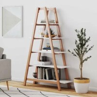 This ladder bookcase is a beautiful etagere to display your decorative objects. The modern five shelf ladder has clean lines with an open airy design that will add depth to your room, crafted from rubberwood. The stained wood frame forms two sharp angles that provide structure and strength.