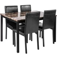 5-Piece kitchen dining table combination: It is the perfect complement to your dining space. This artificial marble top dining table will add elegance to your home kitchen and dining room, while its modern design can easily blend with many decorations. The dining chair is decorated with artificial leather, which has unlimited comfort and easy maintenance. Metal legs provide strong and durable support. This dining table has a compact design and is ideal for small spaces or apartment living. The...
