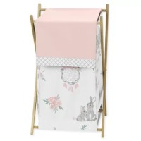 Bunny Floral Laundry Hamper will help complete the look of your Sweet Jojo Designs room. The wooden stand folds flat for space-saving storage and the removable mesh liner is great for toting laundry. Dimensions: 26.5 in. x 15.5 in. x 16 in. Laundry hamper includes: Wooden Frame, Mesh Liner and Fabric Cover.