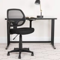 Get to work in contemporary comfort with this task chair. Enveloped in a breathable mesh upholstery, this chair features a full back, fixed arms, and a contoured seat with a waterfall edge. Its heavy-duty black nylon base includes hooded double caster wheels for effortless mobility, while a 360° swivel mechanism lets you glide from task to task with ease. Rounding out the design, a lever-operated pneumatic lift adjusts the seat height.