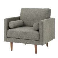 Complete your living room ensemble or add extra seating in the master suite with this mid-century-inspired armchair. Built for relaxing in comfort and style, it's upholstered in a neutral microsuede fabric with foam cushions underneath. Founded atop a solid and manufactured wood frame, it showcases square arms, two bolsters on each side, and walnut-hued tapered legs for a finishing touch. Measuring 33.5'' H x 35.75'' W x 35'' D, this armchair is the perfect size for curling up with a good...
