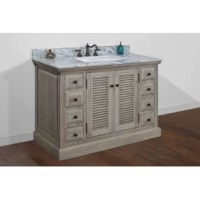This rustic style bathroom vanity features a shutter design, 8 handy drawers, and a conforming top. The color and the pattern of the countertop you receive may vary from the pictures.