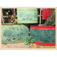 This is a wonderful trio of containers with each one having its own color.  They are painted in a distressed finish, and have a fine cut design and lettering out of the metal to add a unique detail.  You can turn the cut-outs to the back if you dont want the words visiable, which works well if you want year round use.  These are set of 3 nesting sizes .