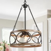 This four-light pendant is available in brown. It features a faux-painted wood frame.
