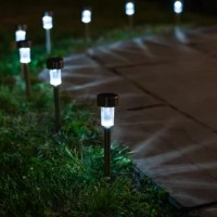 Featuring a stainless steel design with a built-in light sensor, these solar lights are great to illuminate your garden, walkway, or yard.