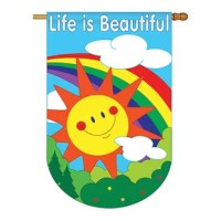 Fun In The Sun Beautiful Large House FlagTwo Group have variety of House Flag for all occasions. Uniquely design for hanging indoor or outdoor use. We are committed to offering you exceptional values. Our customers enjoy displaying our House Flag for longer periods. Specification: Theme: Fun In The SunSize: House Flag 28