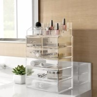 Tired of not being able to find your favorite lipstick, or want just want to house an extensive cosmetics collection? Put all your favorite makeups in their place with an organizer like this one! Crafted from clear acrylic glass, it features a translucent design that makes it easy to hunt for that evasive eyeliner. And with seven drawers and a variety of compartments up top, there's room for lotions, foundations, and more.