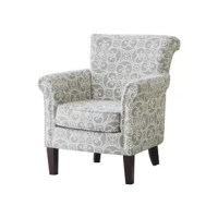 Add a touch of pattern and simple grace to your well-appointed and welcoming entertainment space with this armchair. Combining a birch wood and plywood frame with foam-filled polyester blend upholstery, this armchair is an unfussy addition to your ensemble, while its silver nailhead trim and black-hued legs add little dashes of definition and character to the piece.