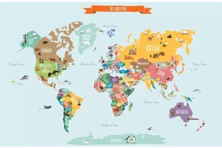 World Map Mural Nursery Path Decorations Pictures Full Path - World map mural for kids