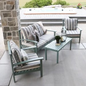 Acadia Wood Outdoor Furniture   Wayfair 4 Piece Acacia Wood Patio Set with Cushion