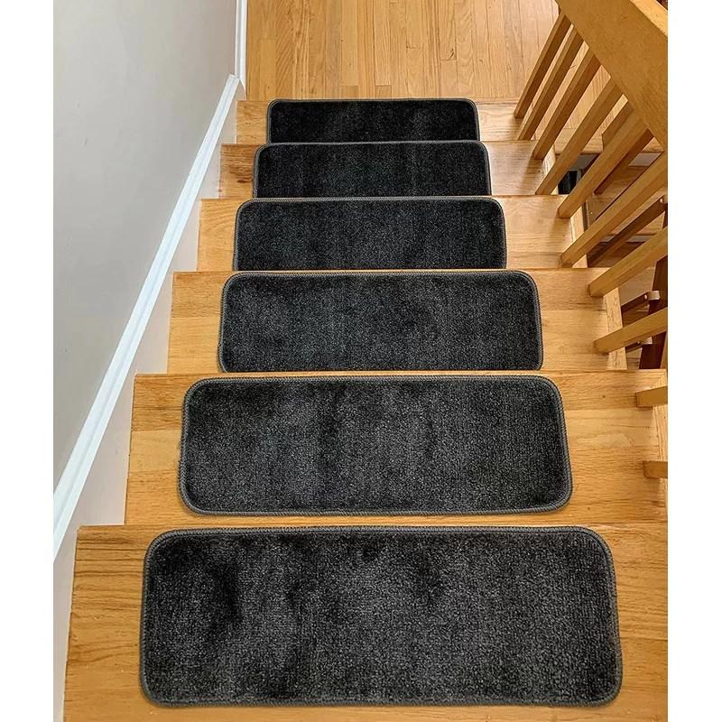 Symple Stuff Hostetler Non Slip Stair Tread Reviews Wayfair   Wayfair Stair Tread Rugs   Bullnose Carpet   Tucker Murphy   Slip Backing   Non Slip Stair   Skid Resistant