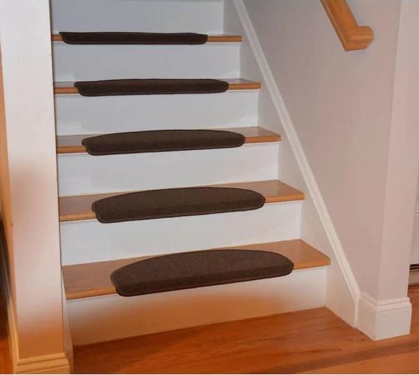 One Piece Stair Carpet Runner Wayfair | Wayfair Stair Carpet Runners | Textured Carpet | Rosalind Wheeler | Staircase Makeover | Treads Carpet | Brown Beige