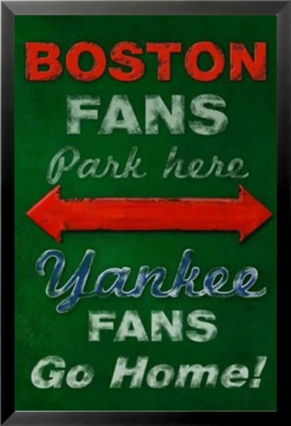 'Boston Fans Park Here-Yankee Fans Go Home Poster' by Robert Downs Framed Graphic Art