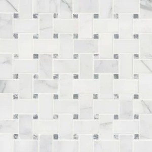Floor Tile You ll Love   Wayfair Calacatta Cressa Basketweave Honed Marble Mosaic Tile in White