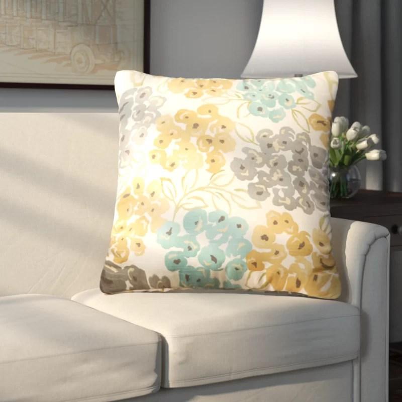 Pinto Square Cotton Floral Throw Pillow