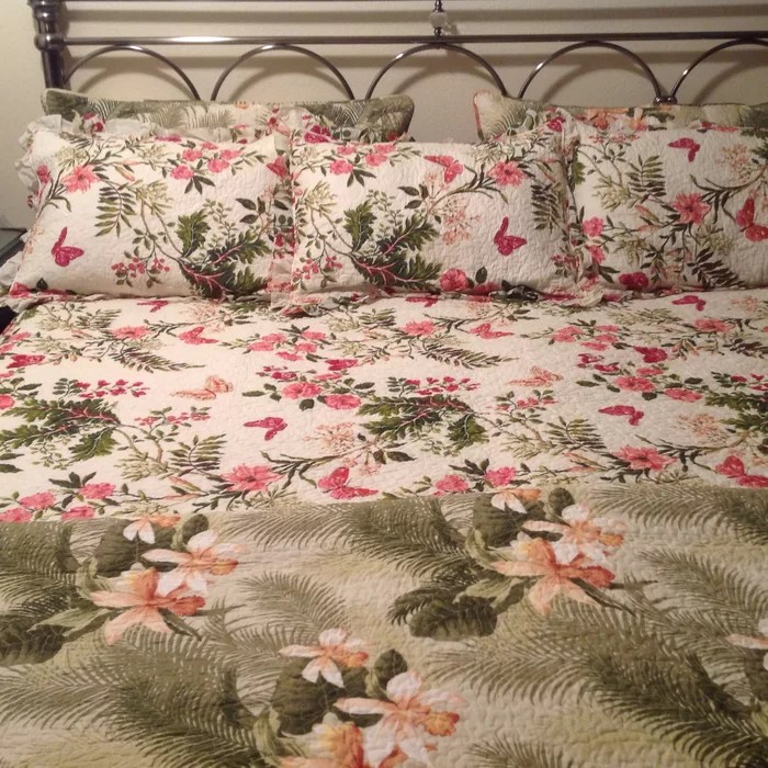 Tropical Orchid 3 Piece Reversible Quilt Set By Tommy Bahama Bedding Vintage Farmhouse Bedding Top9home