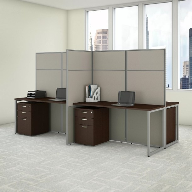 Easy Office 4 Person Desk with File Cabinets and Panels Cubicle