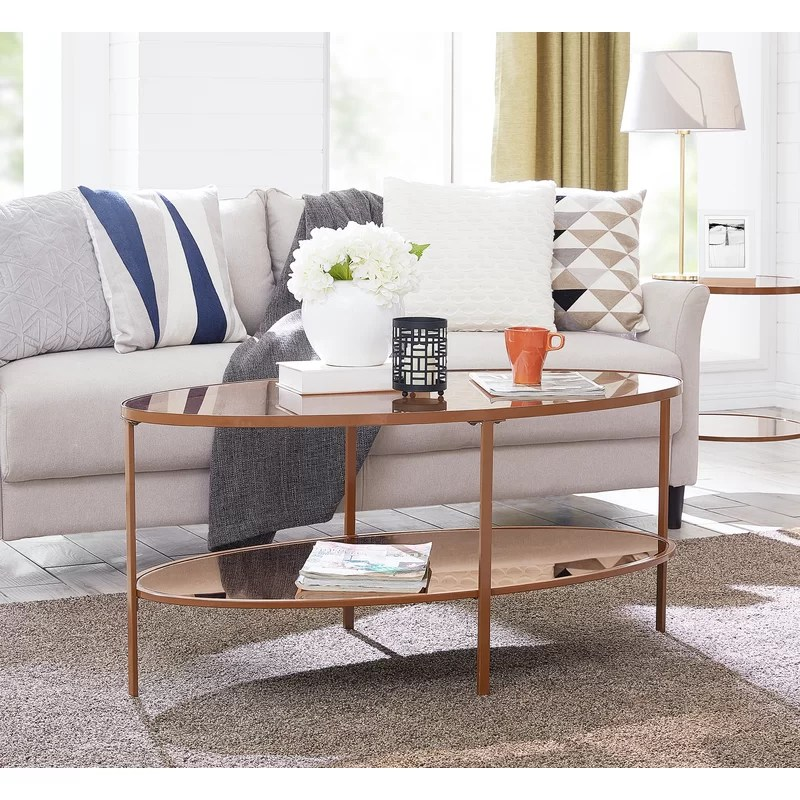 Oval Wood Coffee Table With Storage