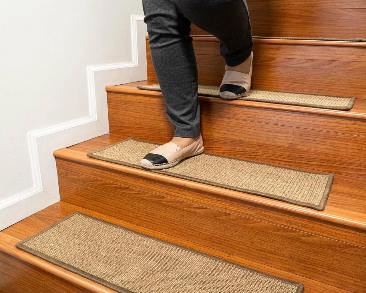 Latitude Run Borrello Catania Serged Border Handmade Stair Tread | Carpet On Tread Only | Wood Stairs | Risers | Stair Tread | Hardwood | Staircase