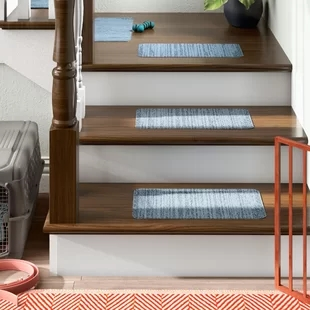 Peel And Stick Carpet Stair Treads Wayfair | Stick On Stair Treads | Step | Unique | Maple Stair | Integrated Post | Solid Weathered