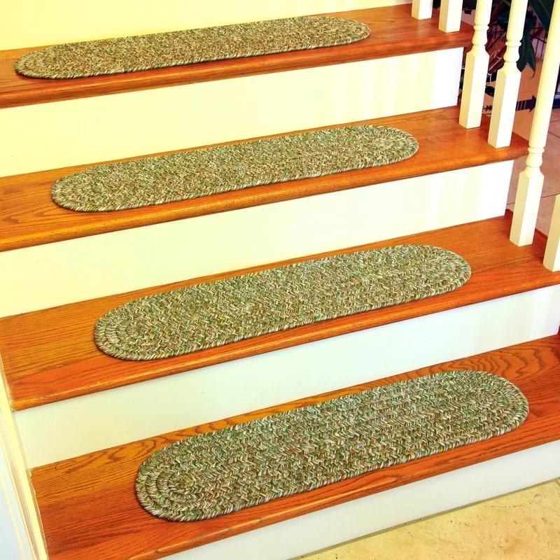 August Grove Seline Bay Leaf Stair Tread Reviews Wayfair   Wayfair Stair Tread Rugs   Astoria Grand   Beige Carpet   Lis Living   Bullnose Carpet   Non Slip Stair