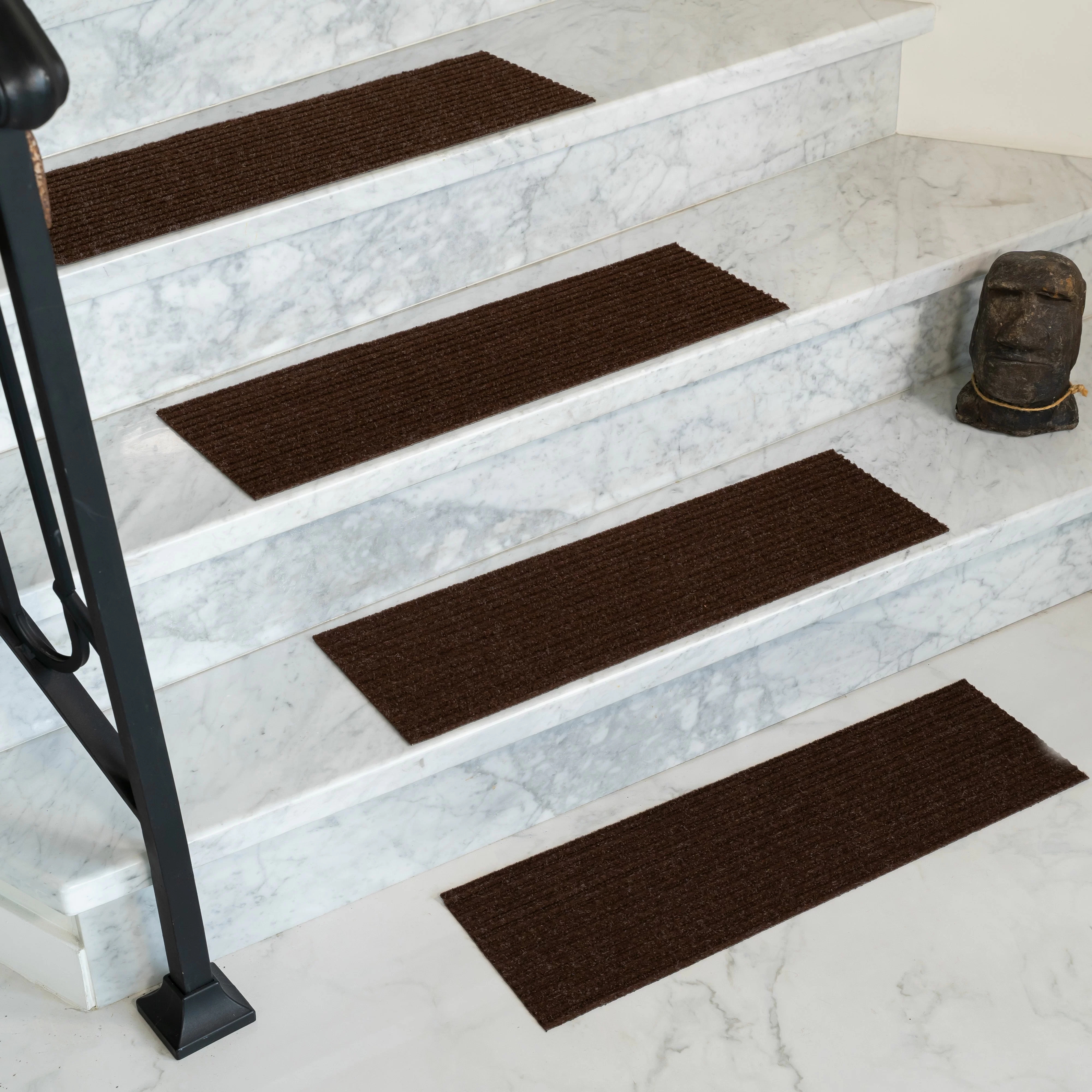 Tucker Murphy Pet Bayless Chocolate Stair Tread Reviews Wayfair   High Traffic Carpet For Stairs   Traditional   Textured   Family Room   Middle Open Concept   Runners