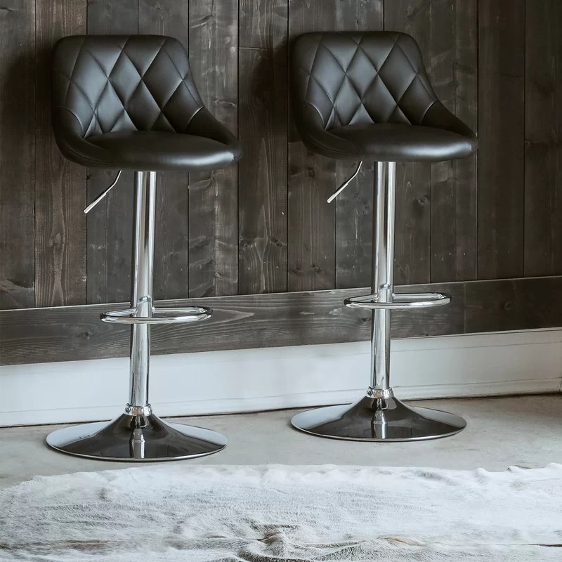 Amani Swivel Adjustable Height Bar Stool (Set of 2)