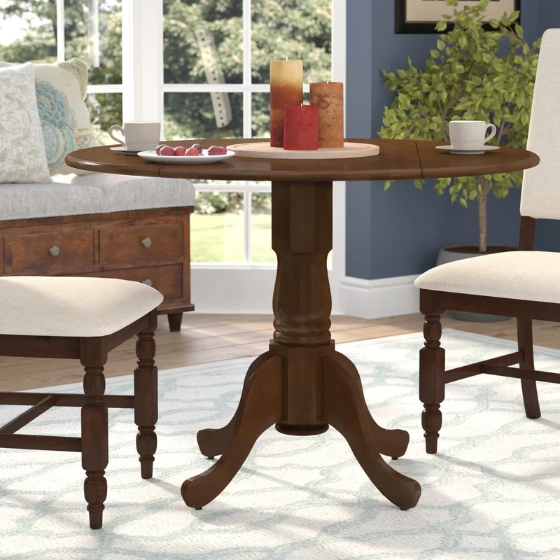 Spruill Drop Leaf Solid Wood Rubberwood Dining Table
