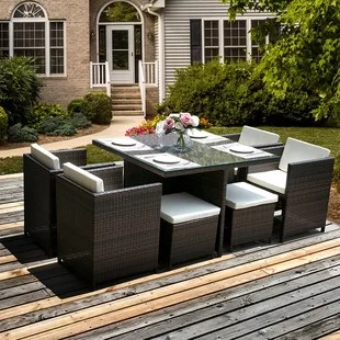 Patio Table Cooler   Wayfair 9 Piece Rattan Sunbrella Conversation Set with Cushions