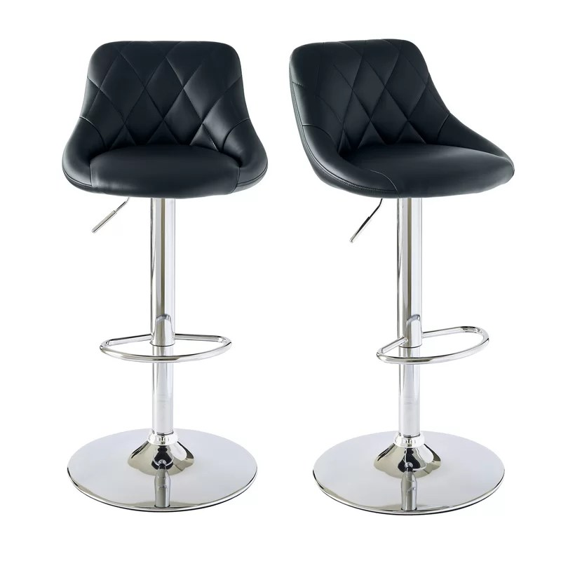Grey Leather Bar Stools Swivel