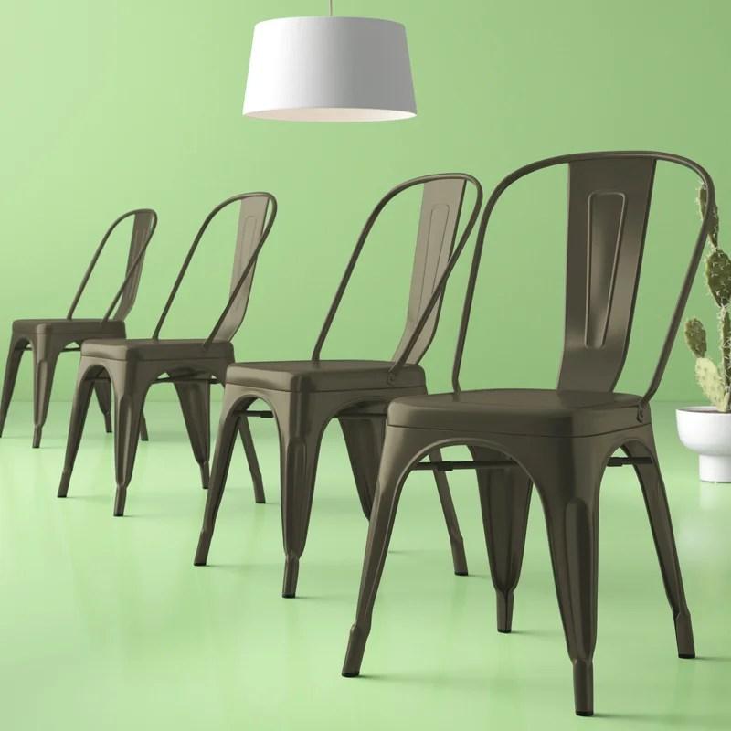 Chelsea Metal Slat Back Stacking Side Chair (Set of 4)