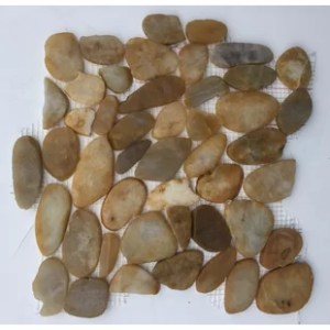 River Rock Floor Tile   Wayfair Flat River Rock Random Sized Natural Stone Mosaic Tile in Gold