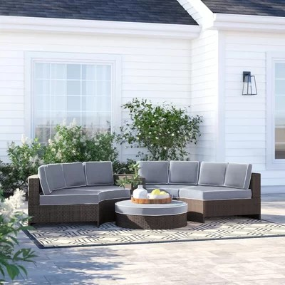 Great Bermuda 6 Piece Rattan Sectional Seating Group With Cushions Furniture Online