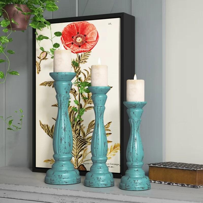 3 Piece Wood Tabletop Candlestick Set