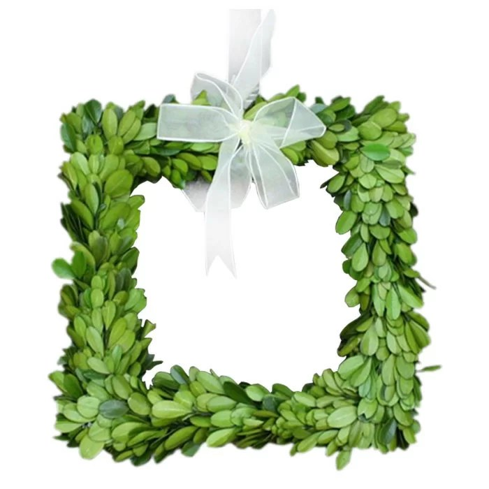 Mills Floral Boxwood Square Wreath with Ribbon & Reviews ...