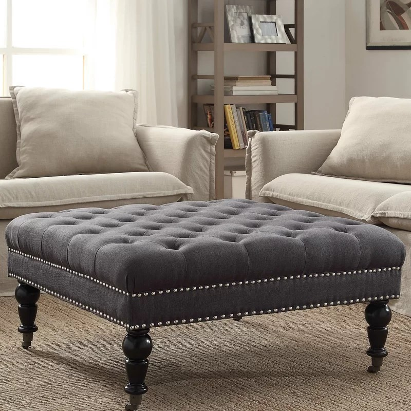 Tufted Ottoman Coffee Table Leather
