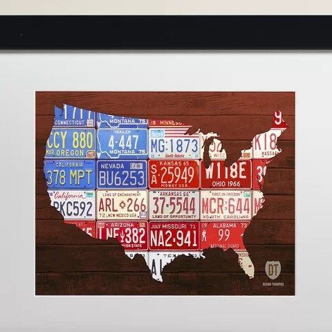 HD Decor Images » Latitude Run USA Flag Map by Design Turnpike Framed Graphic Art     USA Flag Map by Design Turnpike Framed Graphic Art
