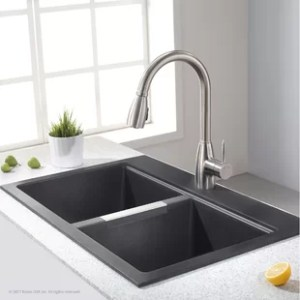 Kitchen Sinks   Joss   Main Granite 33  L x 22  W Double Basin Dual Mount Kitchen Sink