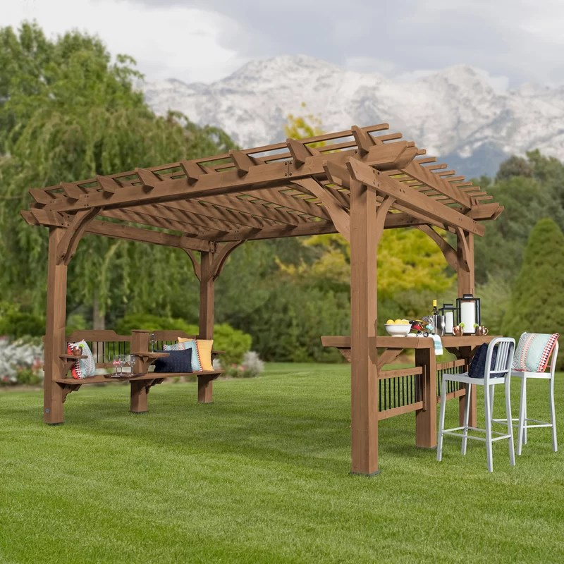 Backyard Discovery Oasis 14 Ft W X 10 Ft D Wood Pergola