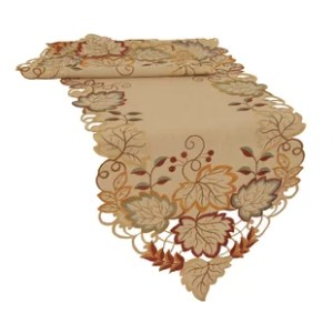 Table Runners You ll Love   Wayfair Harvest Verdure Embroidered Cutwork Fall Table Runner