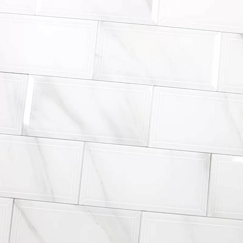 White Beveled Subway Tile 12x12