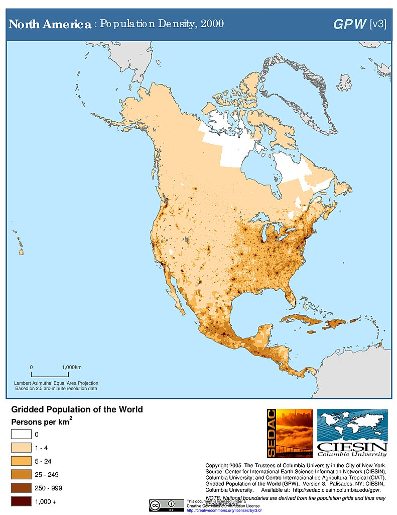 North America population density heatmap : dataisbeautiful