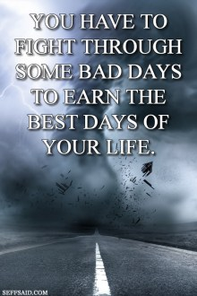 Big Gallery Of The Best Motivational Quotes Ever  You have to fight through some bad days to earn the best days of your