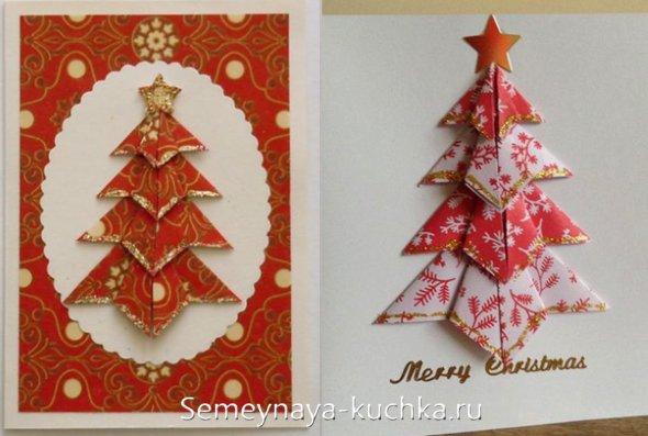 درخت کریسمس از دستمال کاغذی در یک کارت پستال برای سال جدید